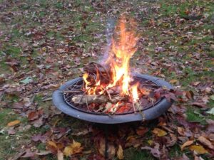 can i burn leaves in a firepit